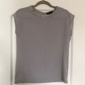 Gray with beaded neckline top.